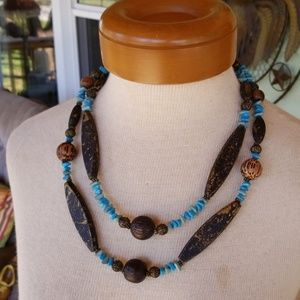 Jewelry - Wooden  faux turquoise necklace